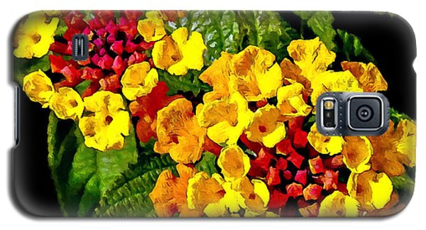 Red And Yellow Lantana Flowers With Green Leaves Galaxy S5 Case