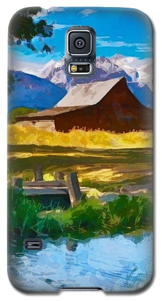 Galaxy S5 Case featuring the digital art Red Barn And Mountains  by Mary M Collins