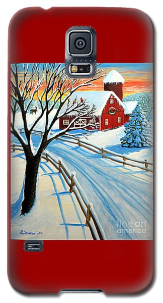 Red Barn In Winter Galaxy S5 Case by Patricia L Davidson