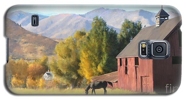 Galaxy S5 Case featuring the painting Red Barn by Rob Corsetti