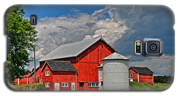 Galaxy S5 Case featuring the photograph Red Barn White Silo by Trey Foerster