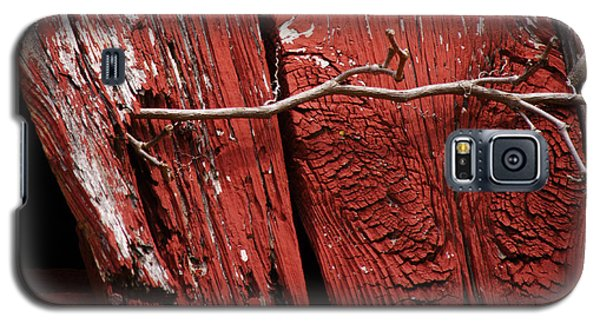 Galaxy S5 Case featuring the photograph Red Barn Wood With Dried Vine by Rebecca Sherman