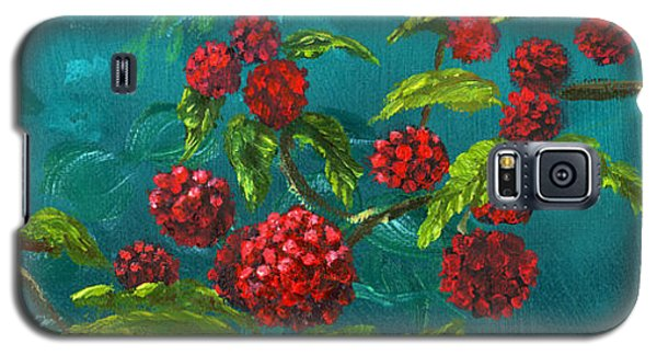 Red Berries In Blue Green Painting Galaxy S5 Case