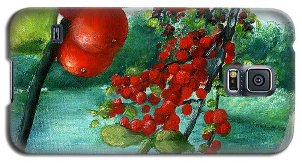 Galaxy S5 Case featuring the painting Red Berry Tree On Louisiana Pond by Lenora  De Lude