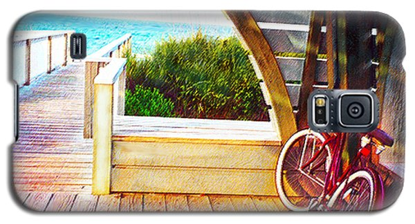 Red Bike On Beach Boardwalk Galaxy S5 Case