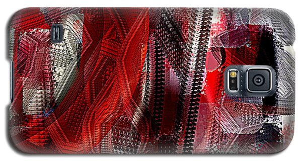 Red Black And White Abstract Galaxy S5 Case by Jessica Wright
