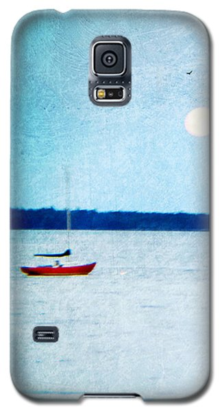 Red Boat Big Moon Galaxy S5 Case by Ann Tracy