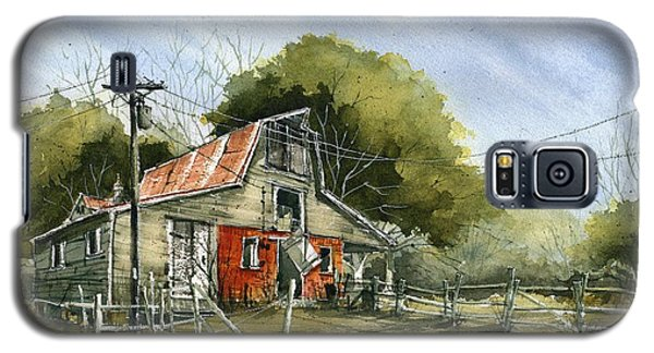 Galaxy S5 Case featuring the painting Red Brick Barn by Tim Oliver