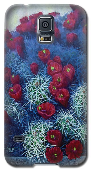 Galaxy S5 Case featuring the painting Red Cactus by Rob Corsetti