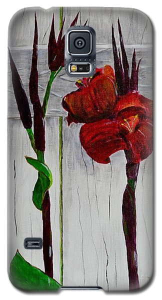 Galaxy S5 Case featuring the painting Red Canna Lily by Melvin Turner