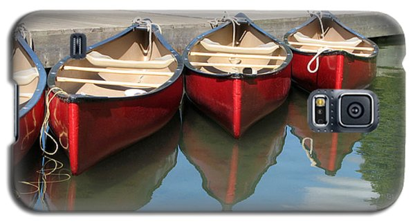 Galaxy S5 Case featuring the photograph Red Canoes by Marcia Socolik