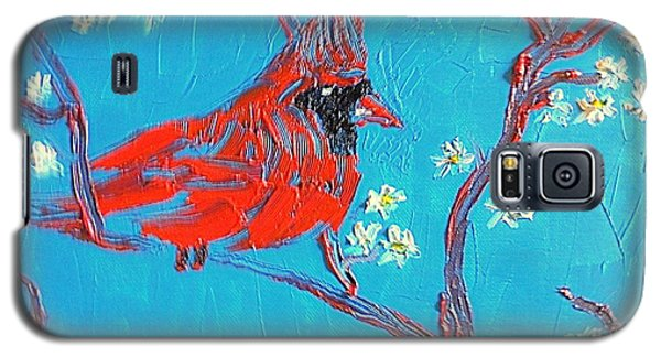 Galaxy S5 Case featuring the painting Red Cardinal Spring by Richard W Linford