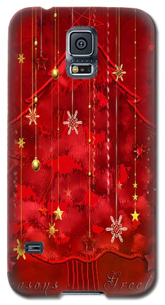Galaxy S5 Case featuring the digital art Red Christmas Tree by Arline Wagner