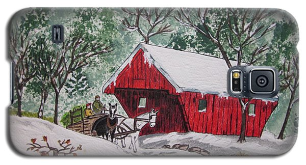 Red Covered Bridge Christmas Galaxy S5 Case by Kathy Marrs Chandler