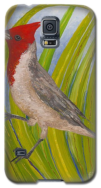 Galaxy S5 Case featuring the painting Red-crested Cardinal by Anna Skaradzinska