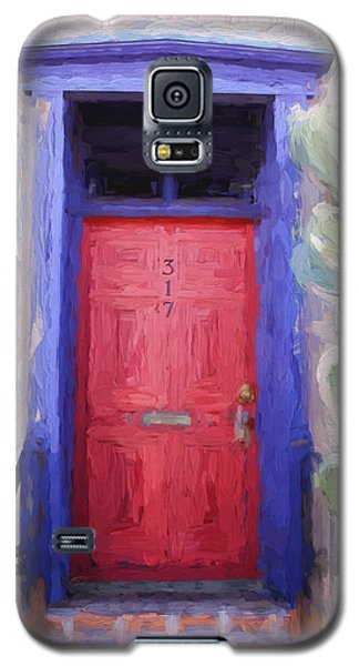 Red Door 317 Tucson Barrio Painterly Effect Galaxy S5 Case by Carol Leigh