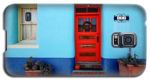 Red Door On Blue Wall Galaxy S5 Case by Joe Kozlowski