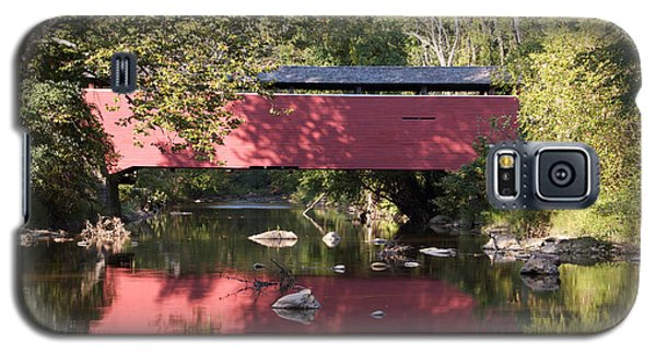 Red Fairhill Covered Bridge Two Galaxy S5 Case by Alice Gipson