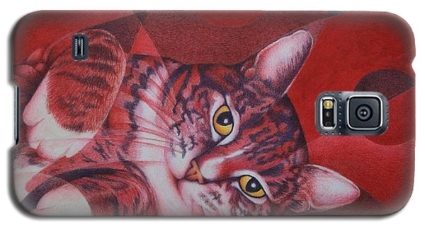 Galaxy S5 Case featuring the painting Red Feline Geometry by Pamela Clements
