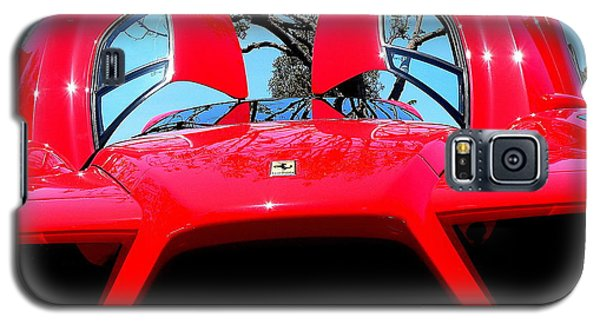 Galaxy S5 Case featuring the photograph Red Ferrari Doors Open And Front Air Intakes by Jeff Lowe