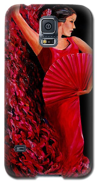 Galaxy S5 Case featuring the painting Red Flamenco Dancer by Nancy Bradley