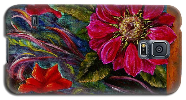 Galaxy S5 Case featuring the painting Red Flower In Rust And Green by Lenora  De Lude