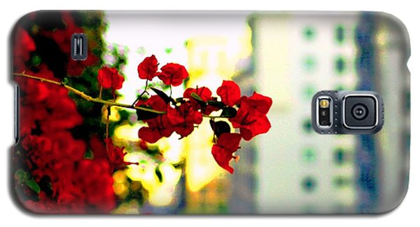 Galaxy S5 Case featuring the photograph Red Flowers Downtown by Matt Harang