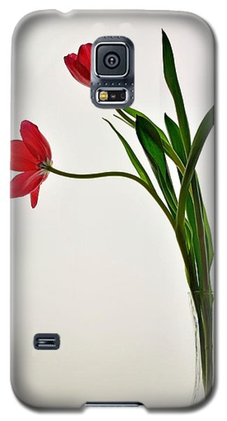 Red Flowers In Glass Vase Galaxy S5 Case