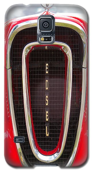 Galaxy S5 Case featuring the photograph Red Ford Edsel Grill Detail by Mick Flynn