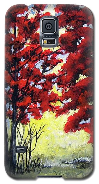 Galaxy S5 Case featuring the painting Red Forest by Suzanne Theis