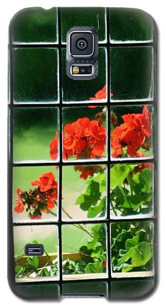 Red Geranium Through Leaded Window Galaxy S5 Case