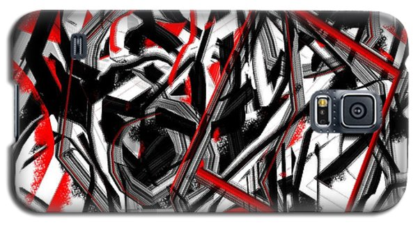 Red Gray And Black Abstract On White Background Galaxy S5 Case by Jessica Wright
