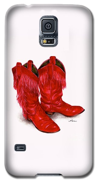 Red Leather Fringed Cowboy Boots Galaxy S5 Case by Nan Wright
