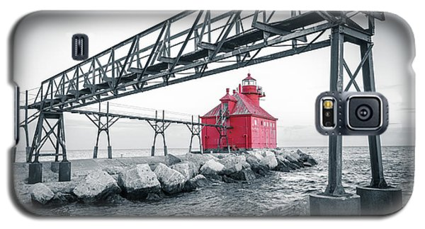 Galaxy S5 Case featuring the photograph Red Light On Lake Michigan by Mark David Zahn