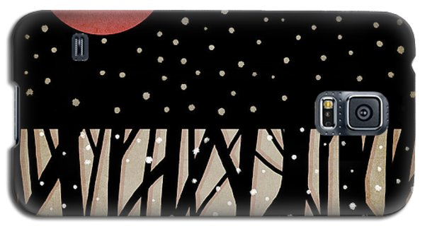 Red Moon And Snow Galaxy S5 Case by Carol Leigh