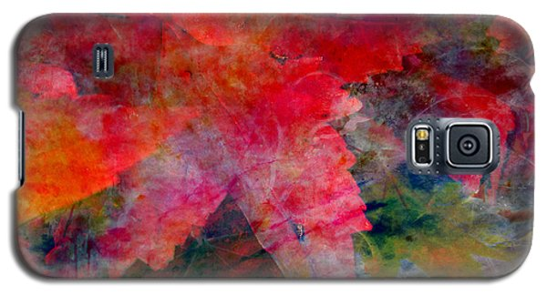 Galaxy S5 Case featuring the painting Red Nature Abstract Autumn Leaf by John Fish