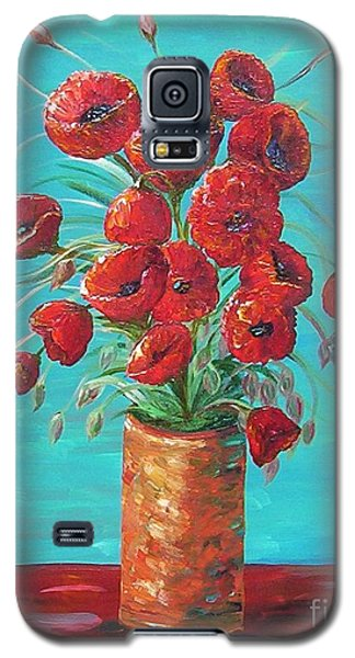 Galaxy S5 Case featuring the painting Red On My Table  by Eloise Schneider