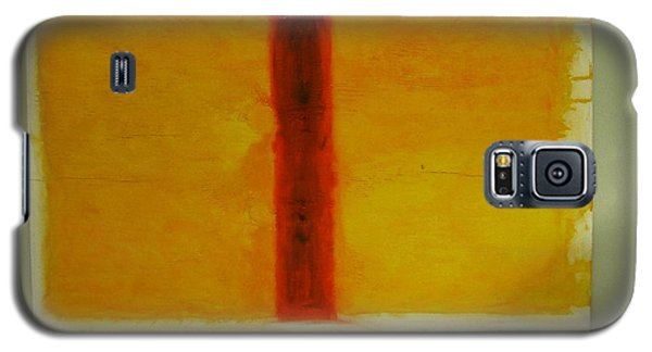 Galaxy S5 Case featuring the painting Red  On Yellow by Phoenix De Vries