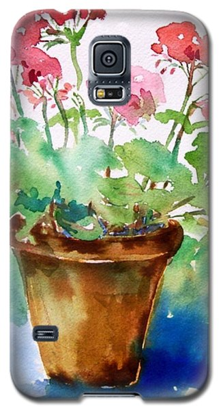 Galaxy S5 Case featuring the painting Red Pelargonium  by Trudi Doyle