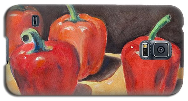 Galaxy S5 Case featuring the painting Red Peppers by Melinda Saminski