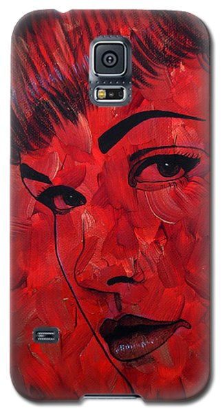 Galaxy S5 Case featuring the painting Red Pop Bettie by Malinda Prudhomme