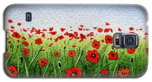Red Poppies Green Field And A Blue Blue Sky Galaxy S5 Case