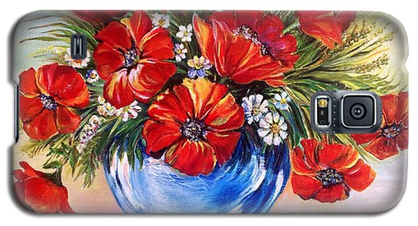 Galaxy S5 Case featuring the painting Red Poppies In Blue Vase by Iya Carson