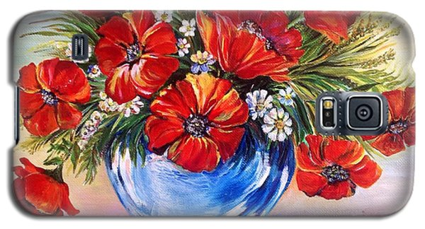Red Poppies In Blue Vase Galaxy S5 Case by Iya Carson
