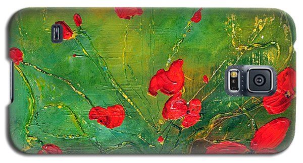 Galaxy S5 Case featuring the painting Red Poppies by Teresa Wegrzyn