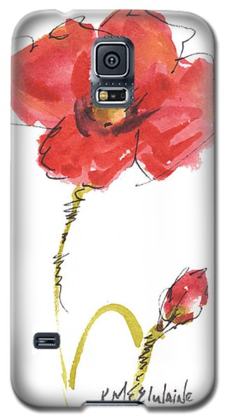 Red Poppy And Bud Galaxy S5 Case