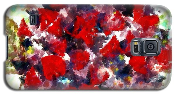 Galaxy S5 Case featuring the painting Red Purple Flower by Joan Reese