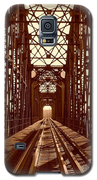 Galaxy S5 Case featuring the photograph Red River Train Bridge #1 by Robert ONeil