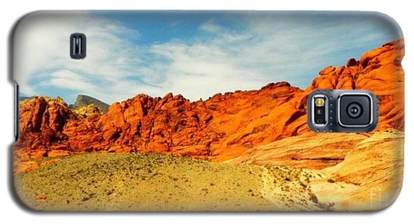 Galaxy S5 Case featuring the painting Red Rock Canyon - Las Vegas by Shelia Kempf