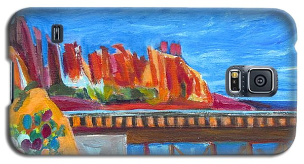 Galaxy S5 Case featuring the painting Red Rocks And Railroad Trestle by Betty Pieper